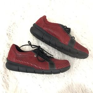 Wolky Red Leather Houdstooth Sneaker Shoes Size 36